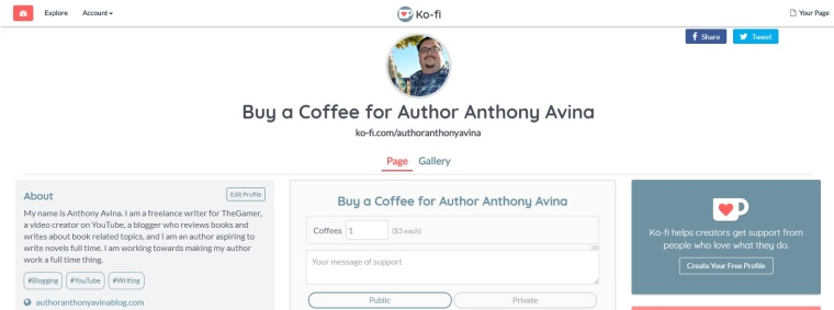 Author Anthony Avina Ko-Fi Page January 2018